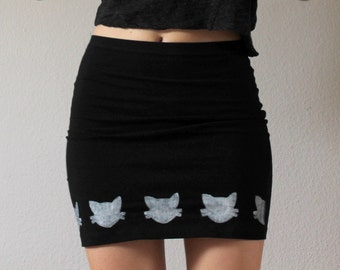 Cute Kitten Miniskirt in black