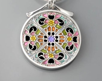 Mandala, PMC, sterling and resin pendant