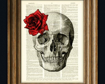 Skull with Rose flower print over an upcycled dictionary page book art print