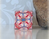 Polymer Clay Kaleidoscope Cane Red White Orange Turquoise No. 191