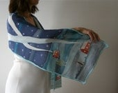 Hand painted crepe silk scarf (blue navy white red colors)