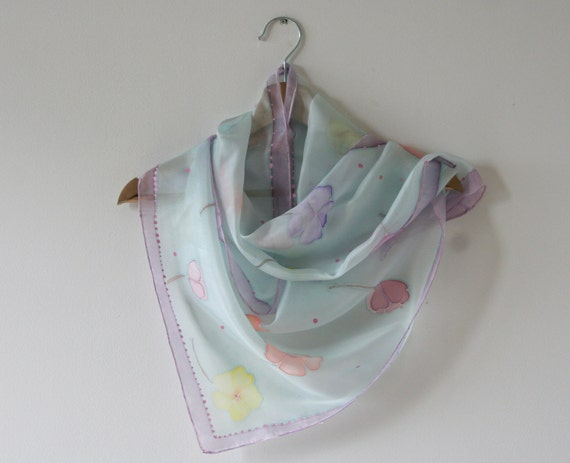 Handpainted silk scarf blue color with flowers (orange, pink, yellow colors)