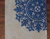 Blue Medallion Coasters Travertine Tile Coaster Drink Set Gift Under 20 - Set of 4 - Perfect Holiday Gift