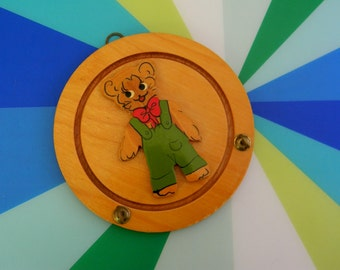 Vintage 1940s 1950s Wooden Teddy Bear Wall Hanging with Hooks