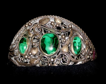 Amazing Victorian  Malachite Ornate Filigree Silver Vintage Antique Bracelet