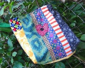 Appliqued Heart Patchwork Pieced Scrappy Crazy Tote DRAWSTRING Lunch Bag (C)