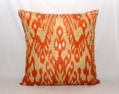 20x20, orange ikat pillow, orange pillow, ikat pillow cover, throw pillow, accent pillow, ikat, ikat fabric, ikat cushion, orange cushion