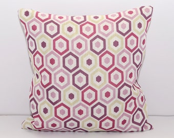 18x18 Geometrical Decorated Pillow Cover, Purple pillow, pink pillow, Housewares, Home Decor, purple, pink , Indoor, Outdoor, Cushion