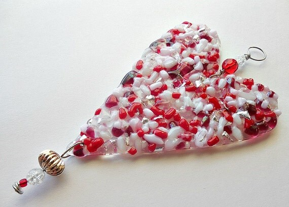 Red, pink, white and silver Fused Glass Heart Suncatcher or Ornament