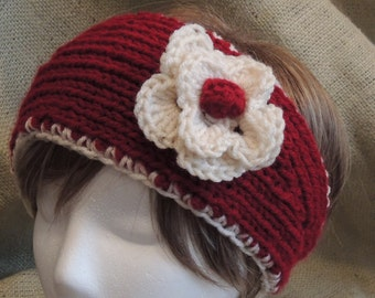 REDUCED PRICE! Crimson & Cream Choose Your Sport Fan Knitted Headband With Crocheted Flower