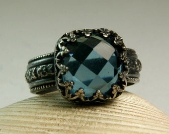 Faceted Blue Quartz Ring, Sterling Silver Stone Ring, Black Silver, Gothic Jewelry, Cushion Cut Stone, custom sized