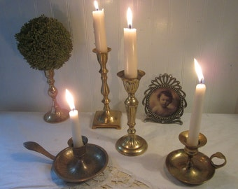 vintage Brass Candle Holders, 5 piece Instant collection, lot. Eclectic Boho mix & match styles. Shabby, urban, romantic cottage decor