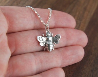 Large bee necklace in sterling silver, bee necklace, big bee, bee jewelry, honeybee, bee charm, bumble bee, sterling silver bee