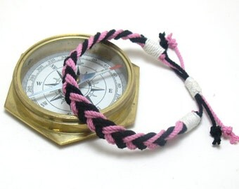 Anklet Pink and Black Braided Cotton Sailor Anklet Chevron