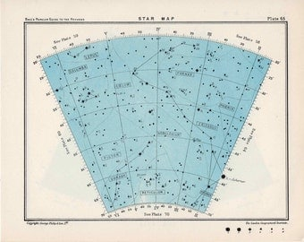 1955 star map 65 & 66 constellations original vintage celestial print astronomy chart