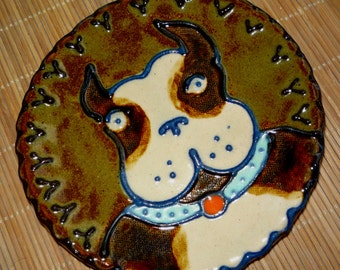 Chocolate Brown and White Terrier  or Pit Bull Spoon Rest