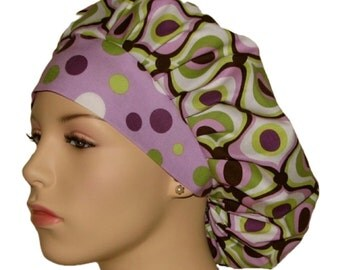 Scrub Hats - Groovy In Lavender With Lolli Dots Headband