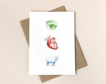 Valentine Love Card: Eye Heart Ewe Icons