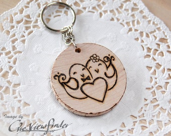 Wooden Charms, wine charm,  love birds, keychain
