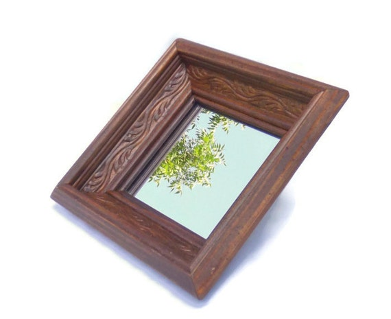 Small rustic carved wood square mirror by michelleandcovintage for Small wood framed mirrors