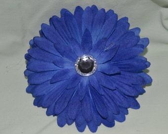 Blue Flower Hair Clip and White Crochet Headband