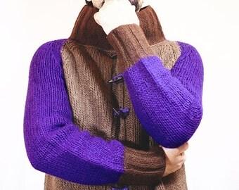 Brown Chunky Wool Cardigan - Men's Cardigan - Men's Wool Sweater - Green Cardigan - Purple Jacket - Long Cardigan (Semi Felted)