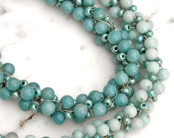 Green and Blue-Green Bead Crocheted Necklace, Amazonite, Sterling, Ombre', Handmade, Fresh, Present-Day