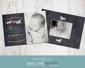 Chalkboard Plane Photo Birth Announcement Template (baby no. 10) - Instant Download