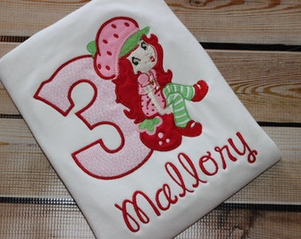 Personalized Strawberry Shortcake Birthday Shirt with Number