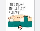 Happy Camper Anniversary Card, Cute Anniversary Card, Outdoor Anniversary Card, Sporty Card, Camping Card, Sweet Anniversary Card