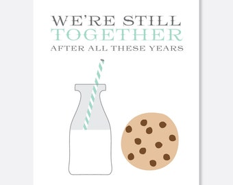 Still Together Anniversary Card, Anniversary Card, Cute Anniversary Card, Sweet Anniversary Card, Food Card, Milk and Cookies Card
