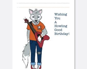 Rockin Wolf Birthday Card, Fun Birthday Card, Animal Birthday Card, Kid Birthday Card, Boy Birthday Card, Girl Birthday Card