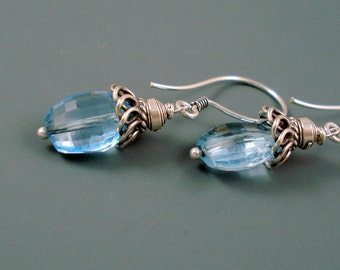 Blue Topaz Earrings, Large Faceted Nuggets of AAA Blue Topaz 8MM x 11MM, Sterling Silver On Sale were 39.00