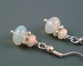 Opal Earrings with Sterling Silver French Wires and Very Large 8MM Blue Pink Ethiopian Opals