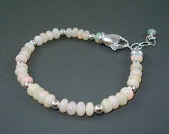 Opal Bracelet, Pastel Color White Opal, Ethiopian Fire Opals and Sterling Silver Bracelet, Opal Jewelry, ON SALE was 89.00