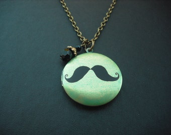 mustache altered photo locket with antique brass chain necklace version 2