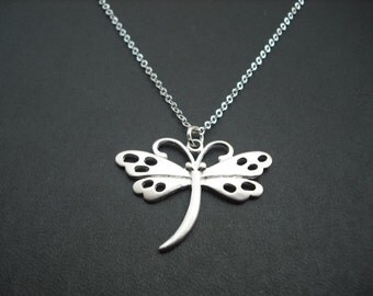 dragon fly necklace - matte white gold plated
