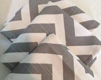Gray and white chevron napkins set of 4