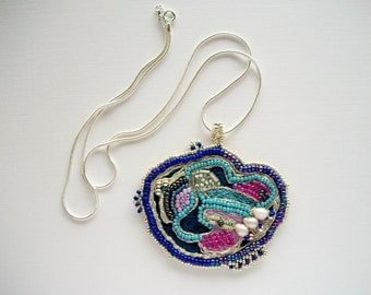 Beaded Jewelry Art Pendant on Silver Plated Snake Chain Mixed Media Piece One of a Kind