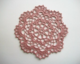 Crochet Doily Old Rose Pink Cotton Lace with Scalloped Edge with Picos Heirloom Quality