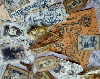 VINTAGE COLLAGE EPHEMERA Set B Art Journal Paper Goods Lot steampunk mixed media assemblage scrapbook altered book