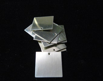 Includes Hole and Jump Rings Sterling Silver SQUARE Blanks 1 inch 25 mm Jewelry Making Supply You Get 3