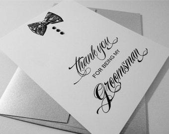 Groomsman Thank You Card, Bridal Party Thank You from Groom, Groom Thank you