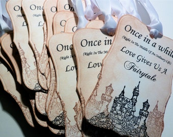 Fairytale Love Tags,  Favor Tags,  Wedding Wish Tree Tags,  Vintage Inspired - Five Tags