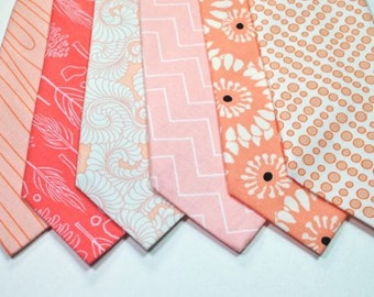Wedding Neckties,  Peach Neckties, Coral Neckties, Mens Neckties, Custom Neckties Cotton Neckties