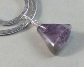 Hammered Free Form Pendant with Amethyst, Aluminum with Sterling Silver Chain