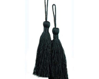"E5524  Set of Two Black Tassels 3.75"" (E5524-bk)"