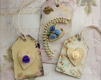 Gift Tags Shabby Chic Inspired Mixed Media Scrapbooking Embellishment Art Tags Set of 3