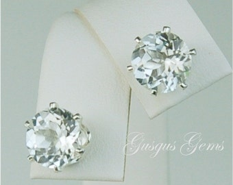 White Topaz Sterling Silver Stud Earrings 8mm 4.35ctw
