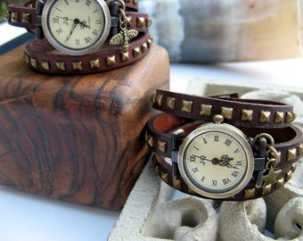 Sale - Chocolate Brown Wrap Watch - Wrist Watch - 9 Charm Options available - Bee, Star, Bird, Pinecone, Flower